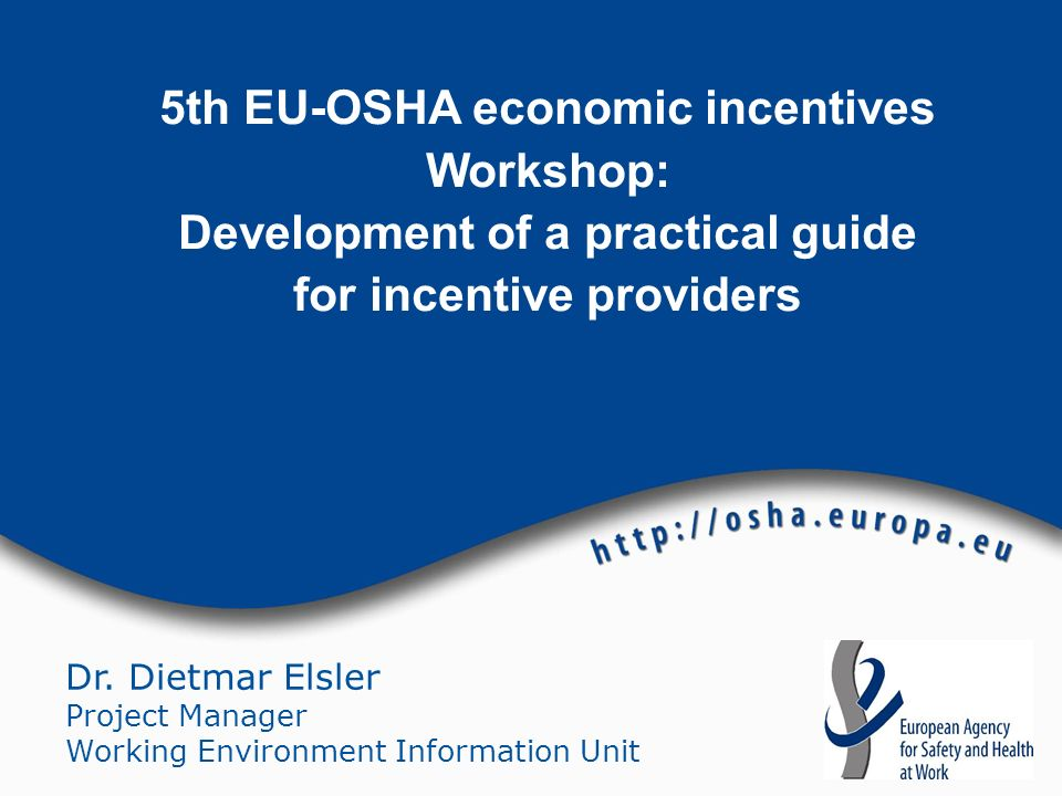 5th EU-OSHA economic incentives Workshop: Development of a practical guide for incentive providers
