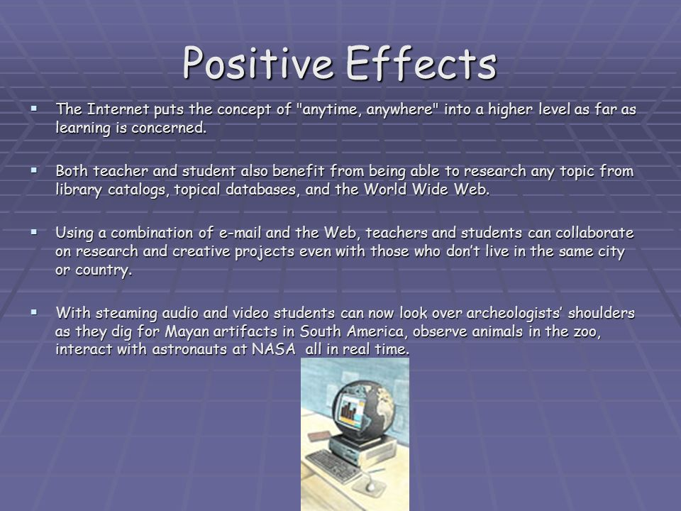positive effect of technology in education essay The prevalence of technology drastically affects many areas of society in positive ways, including education modern-day students not only have computers to help them with their schoolwork, they.