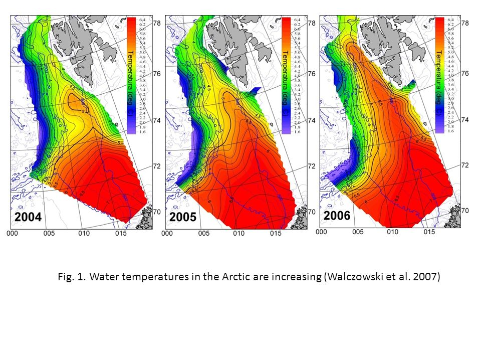 Fig. 1. Water temperatures in the Arctic are increasing (Walczowski et al. 2007)