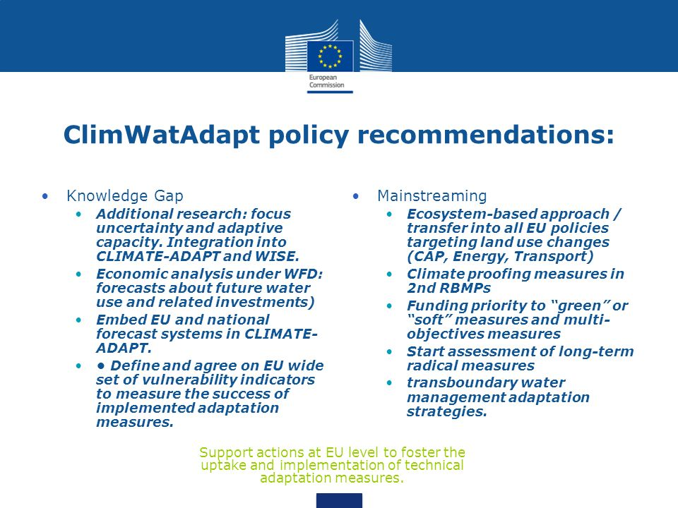 ClimWatAdapt policy recommendations: