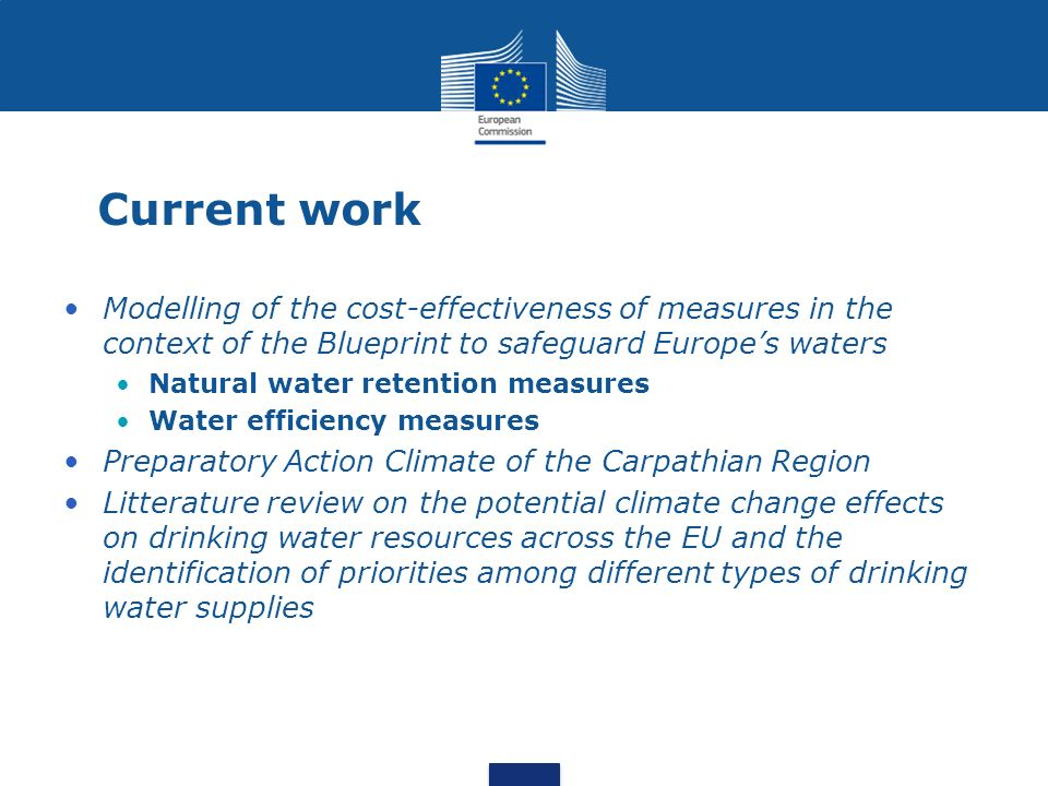 Current work Modelling of the cost-effectiveness of measures in the context of the Blueprint to safeguard Europe's waters.