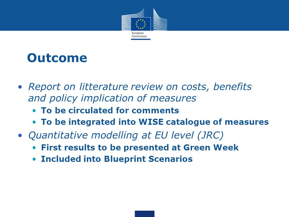 Outcome Report on litterature review on costs, benefits and policy implication of measures. To be circulated for comments.
