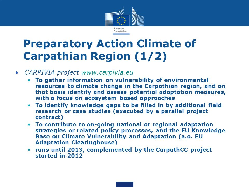 Preparatory Action Climate of Carpathian Region (1/2)
