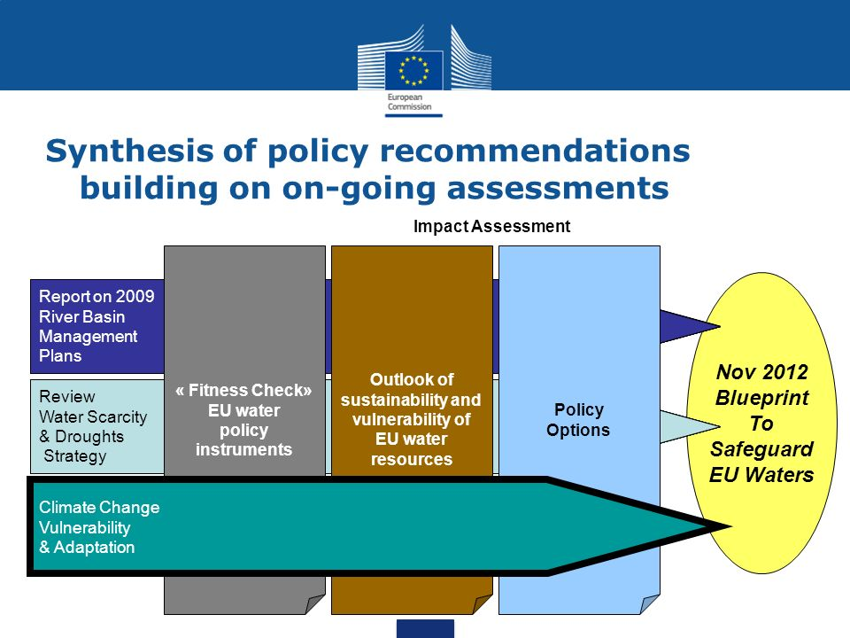 Synthesis of policy recommendations building on on-going assessments