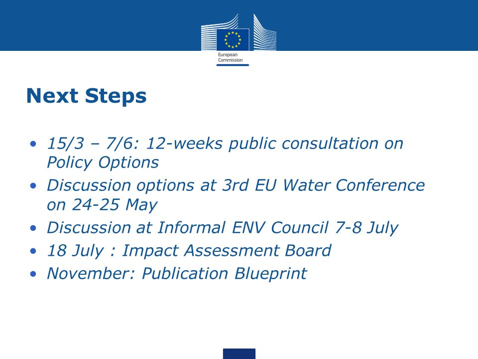 Next Steps 15/3 – 7/6: 12-weeks public consultation on Policy Options