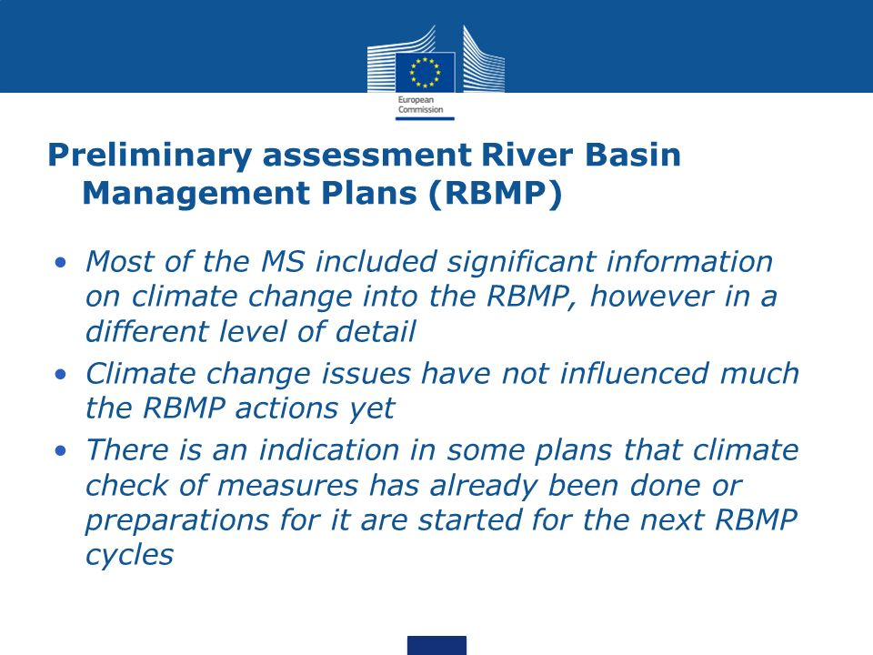 Preliminary assessment River Basin Management Plans (RBMP)