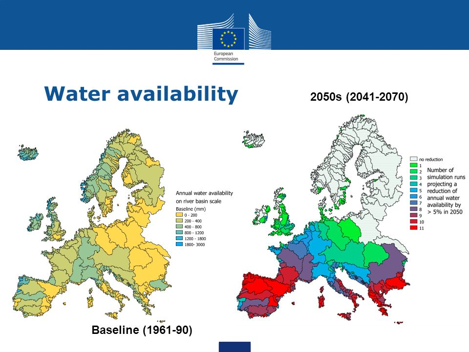 Water availability 2050s (2041-2070) Baseline (1961-90)