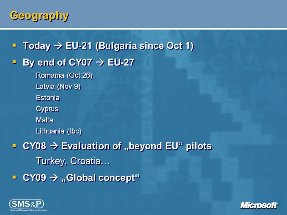 Geography Today  EU-21 (Bulgaria since Oct 1) By end of CY07  EU-27