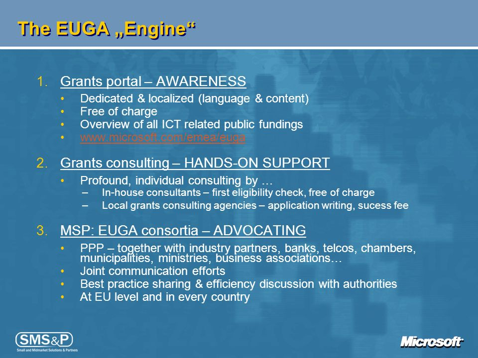 "The EUGA ""Engine Grants portal – AWARENESS"