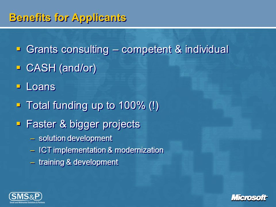 Benefits for Applicants