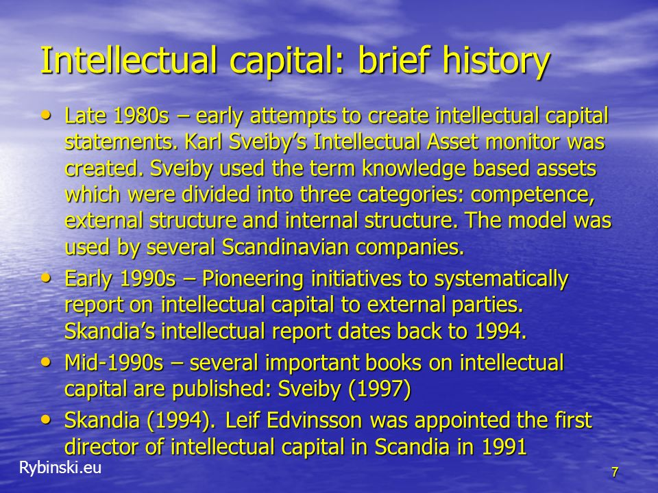 Intellectual capital: brief history