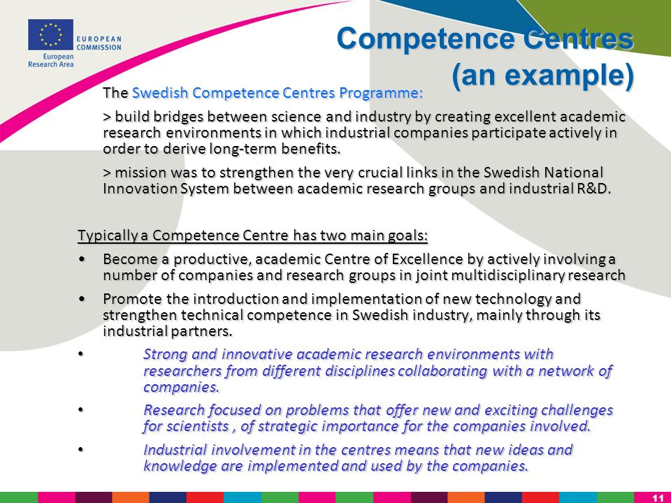 Competence Centres (an example)