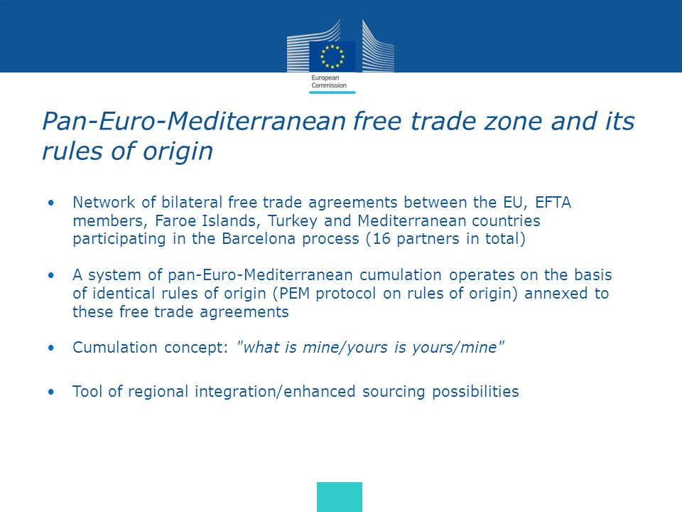 Pan-Euro-Mediterranean free trade zone and its rules of origin