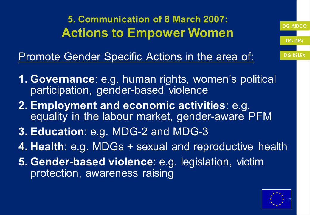 5. Communication of 8 March 2007: Actions to Empower Women