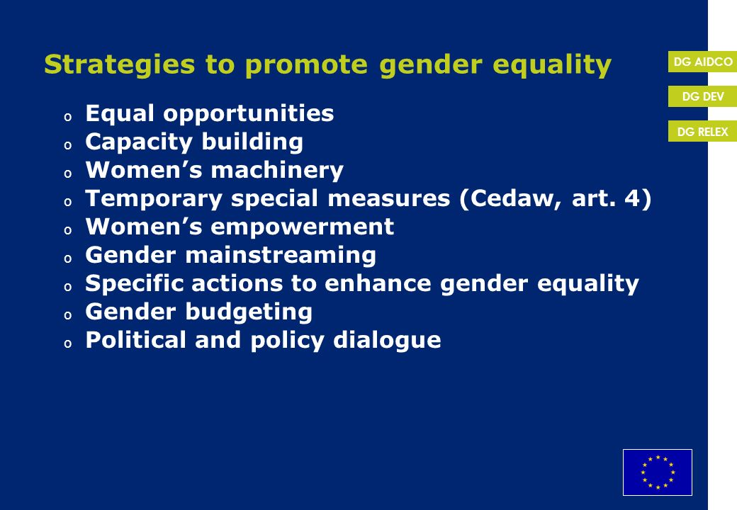 Strategies to promote gender equality