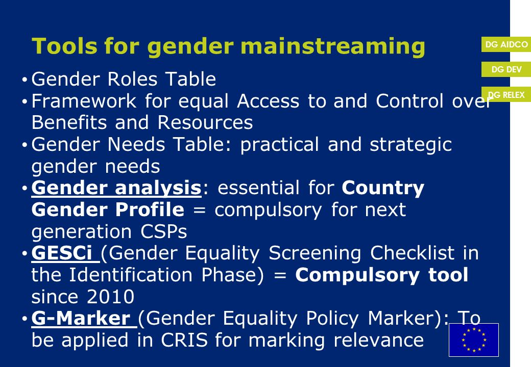Tools for gender mainstreaming
