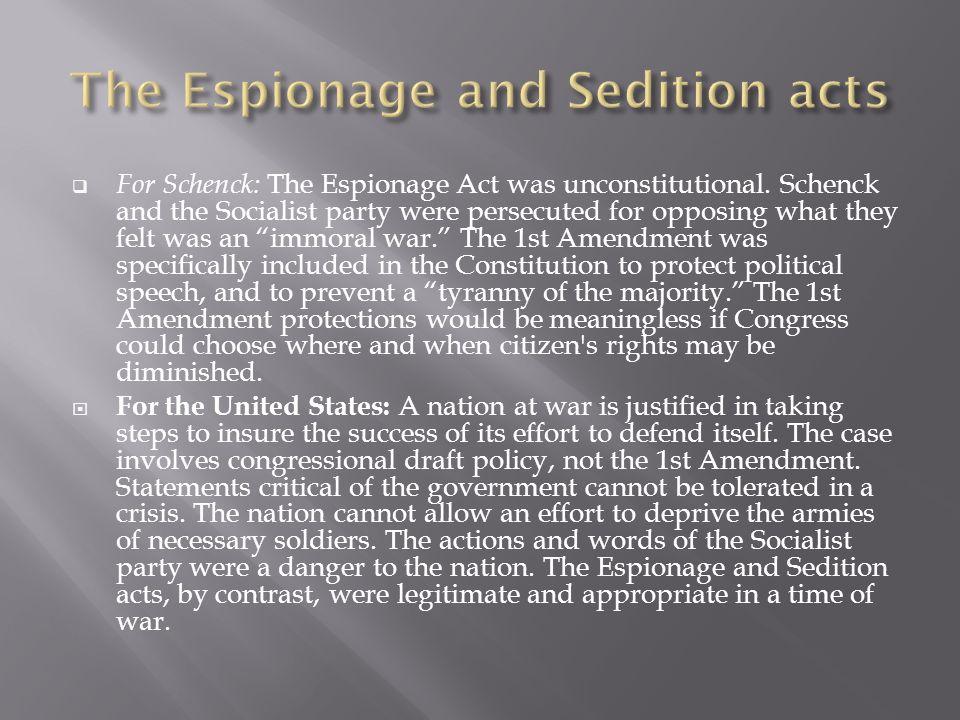 espionage act and the first amendment essay 100 years of the espionage act  of the espionage act of 1917 over any first amendment claim  the espionage act include pentagon papers leaker daniel ellsberg.