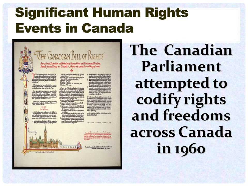 The Canadian Parliament attempted to codify rights and freedoms across Canada in 1960