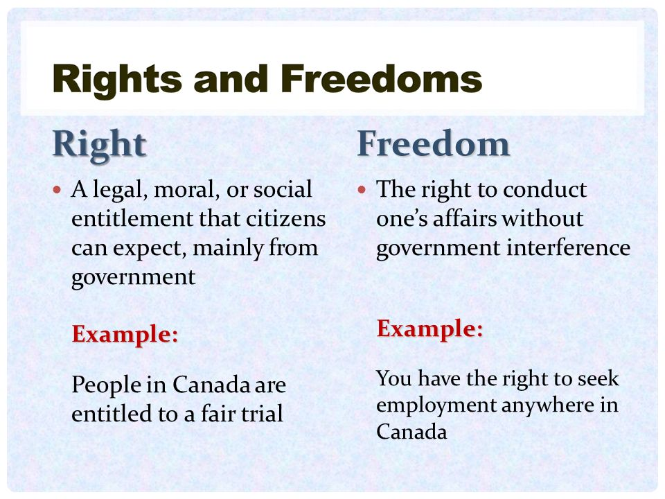 Freedom A legal, moral, or social entitlement that citizens can expect, mainly from government. Example: