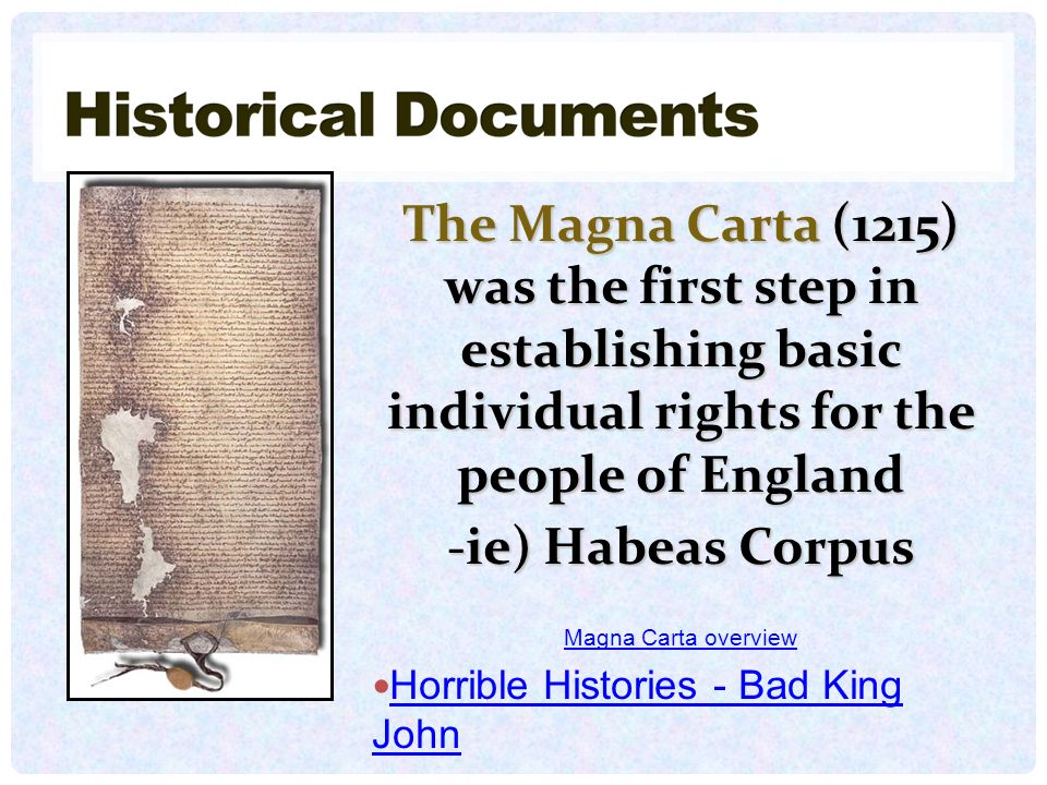 The Magna Carta (1215) was the first step in establishing basic individual rights for the people of England