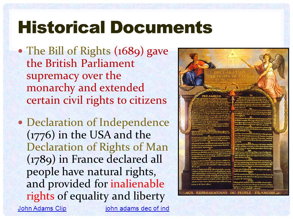 The Bill of Rights (1689) gave the British Parliament supremacy over the monarchy and extended certain civil rights to citizens
