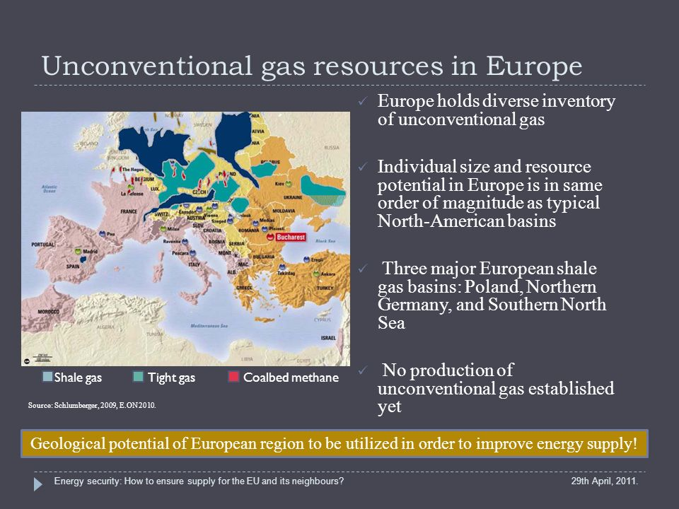 Unconventional gas resources in Europe