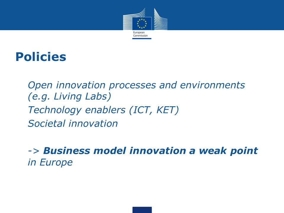 Policies Open innovation processes and environments (e.g. Living Labs)