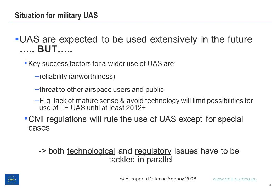 Situation for military UAS