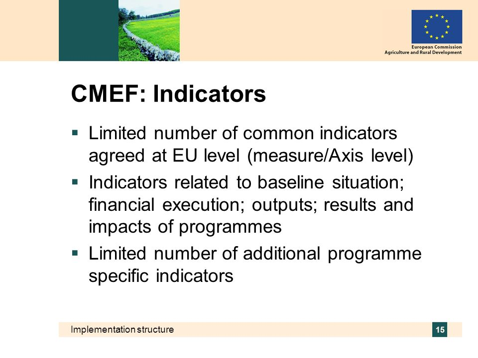 CMEF: Indicators Limited number of common indicators agreed at EU level (measure/Axis level)