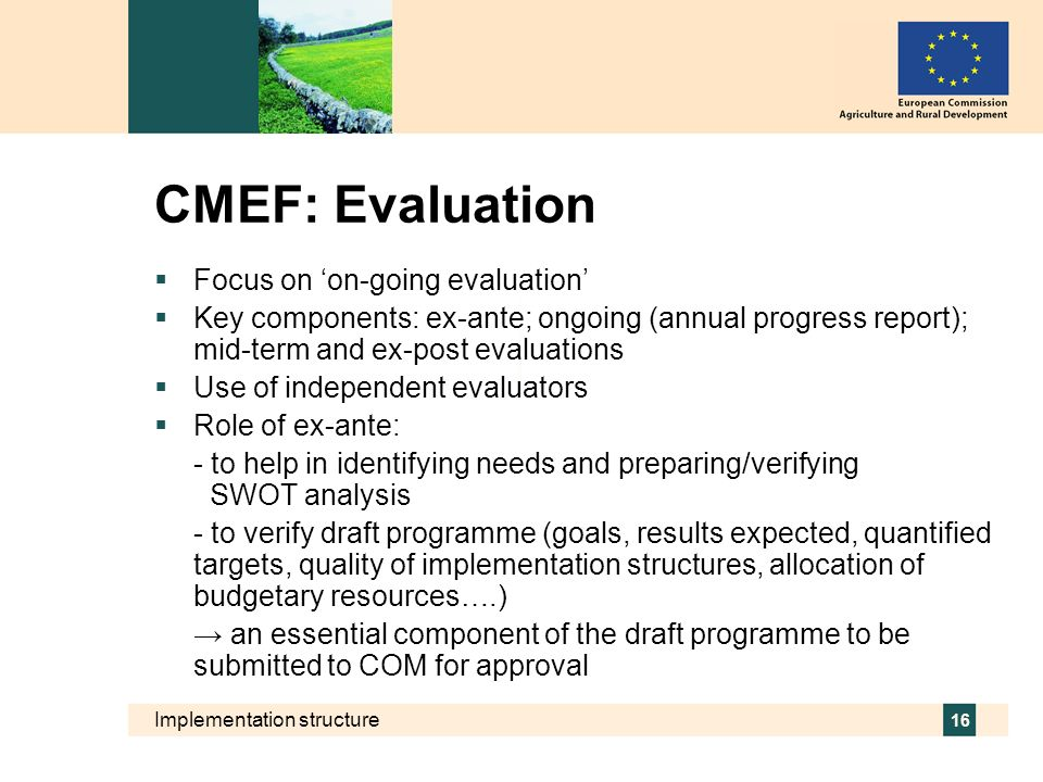 CMEF: Evaluation Focus on 'on-going evaluation'