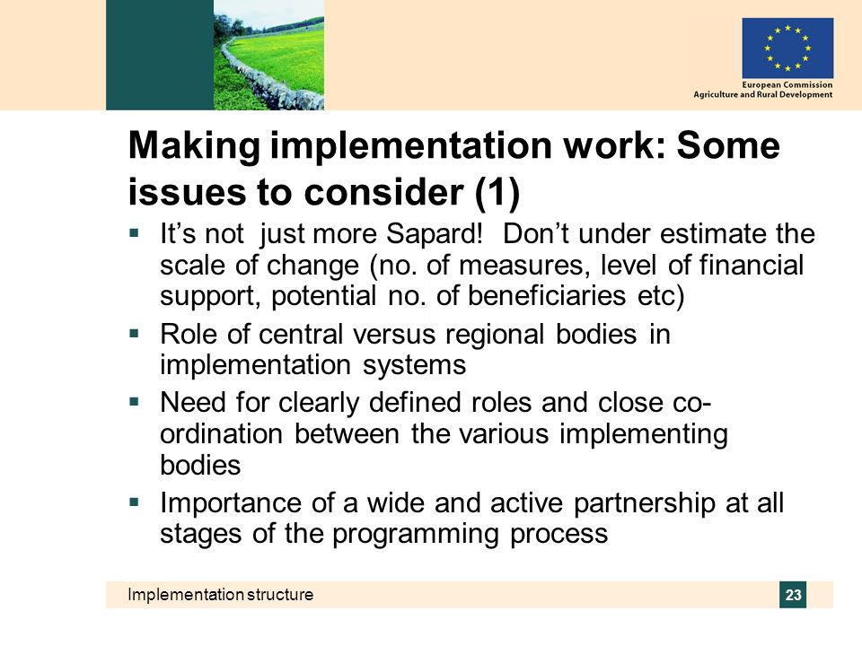 Making implementation work: Some issues to consider (1)
