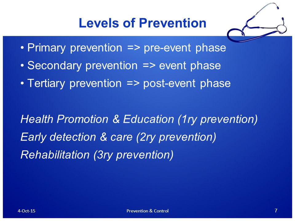 primary secondary and tertiary prevention nursing