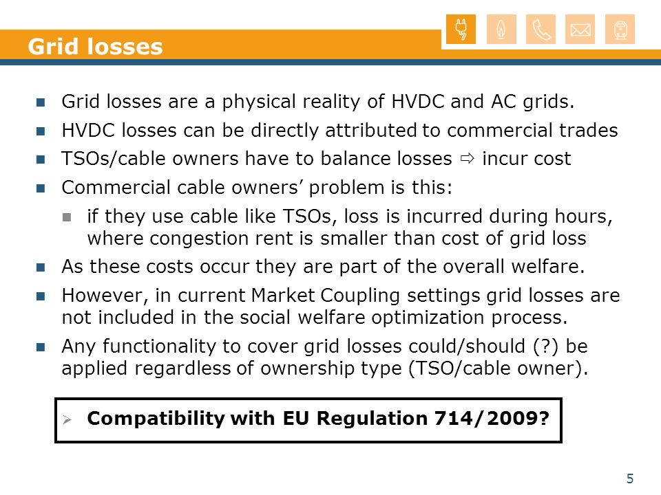 Grid losses Grid losses are a physical reality of HVDC and AC grids.