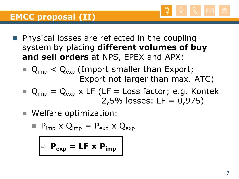 EMCC proposal (II) Physical losses are reflected in the coupling system by placing different volumes of buy and sell orders at NPS, EPEX and APX: