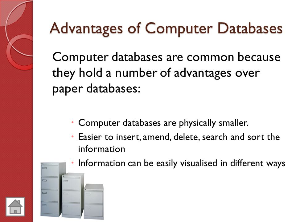 advantages of database There are many advantages of database from which some are listed below reduced data redundancy reduced updating errors and increased consistency.