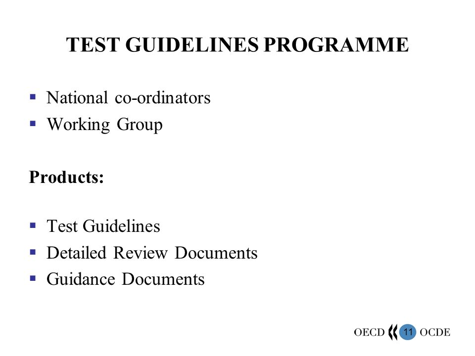 TEST GUIDELINES PROGRAMME
