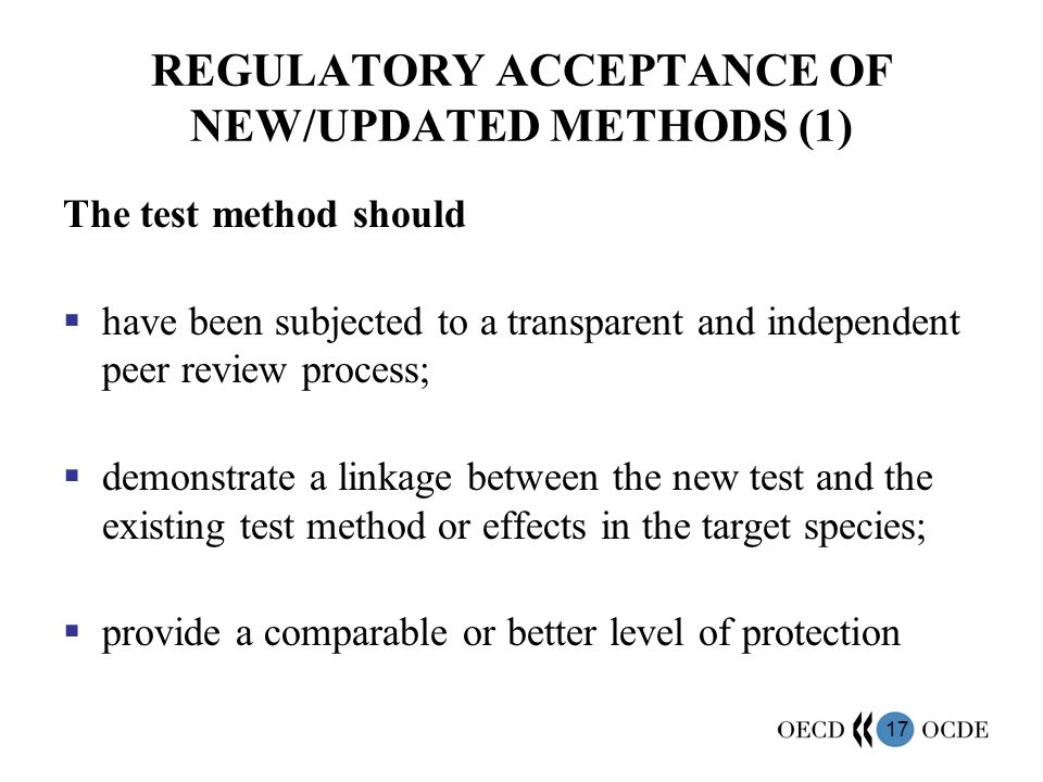 REGULATORY ACCEPTANCE OF NEW/UPDATED METHODS (1)