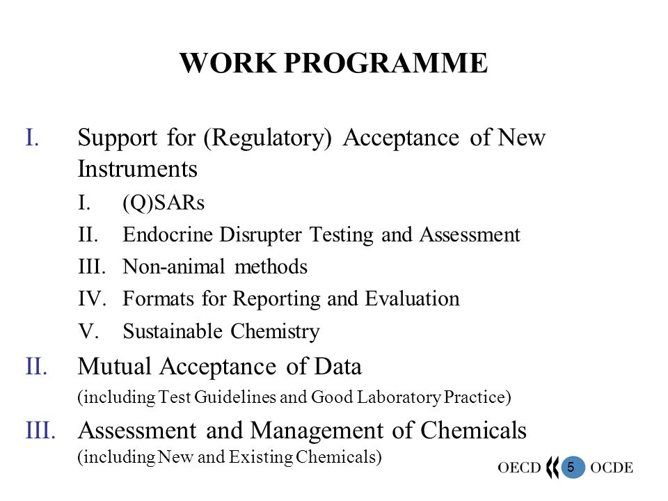 WORK PROGRAMME Support for (Regulatory) Acceptance of New Instruments