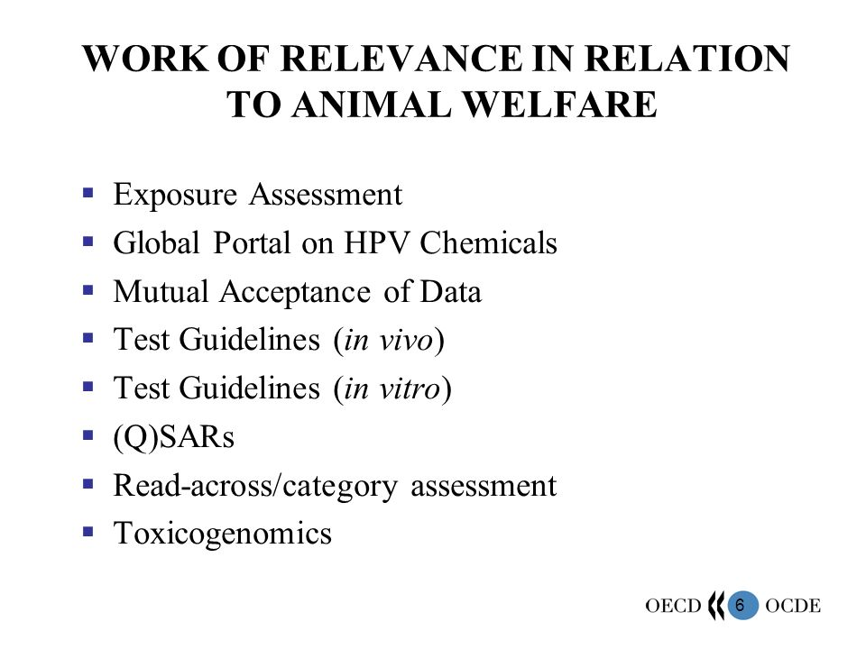 WORK OF RELEVANCE IN RELATION TO ANIMAL WELFARE