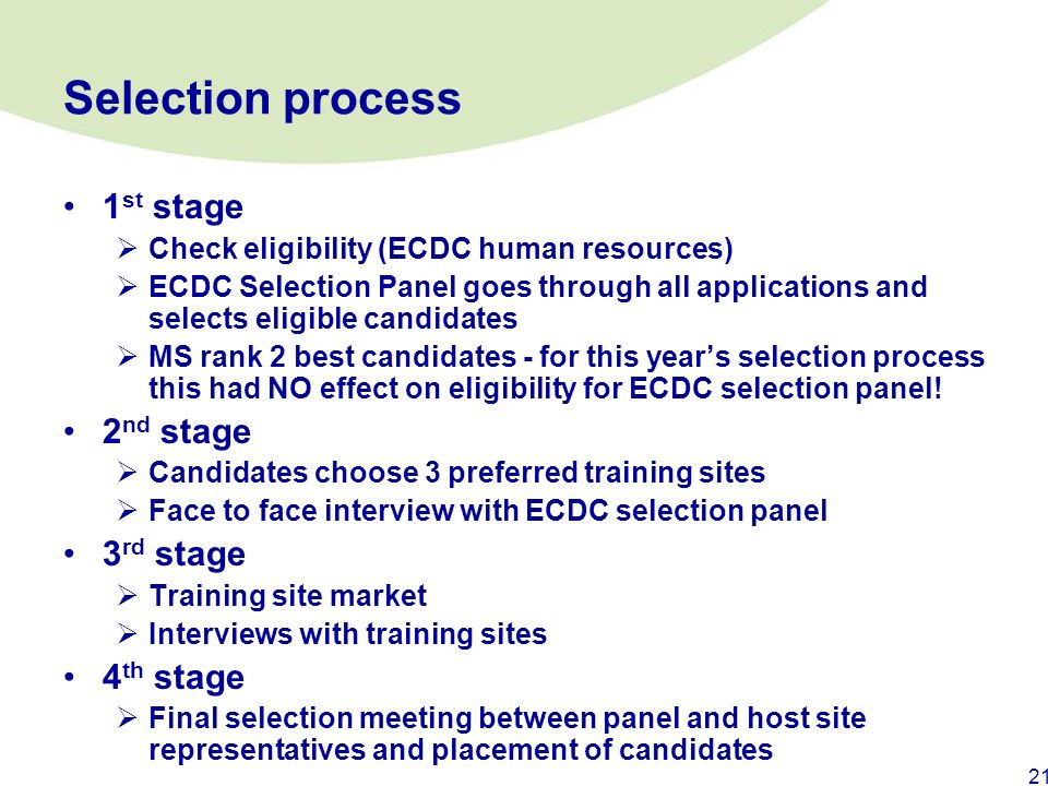 Selection process 1st stage 2nd stage 3rd stage 4th stage