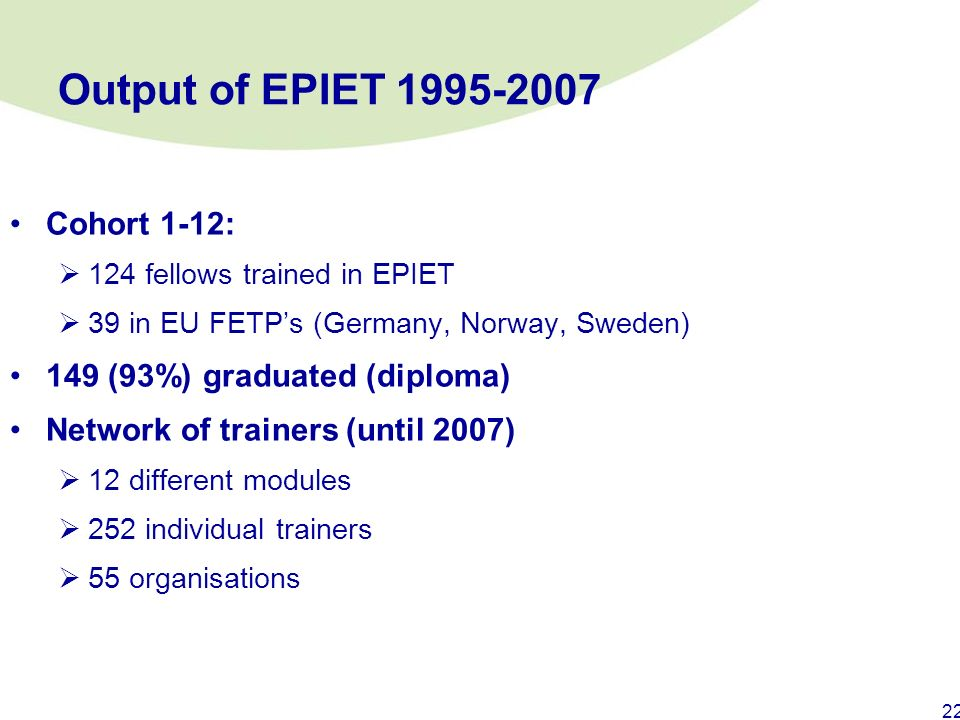Output of EPIET 1995-2007 Cohort 1-12: 149 (93%) graduated (diploma)