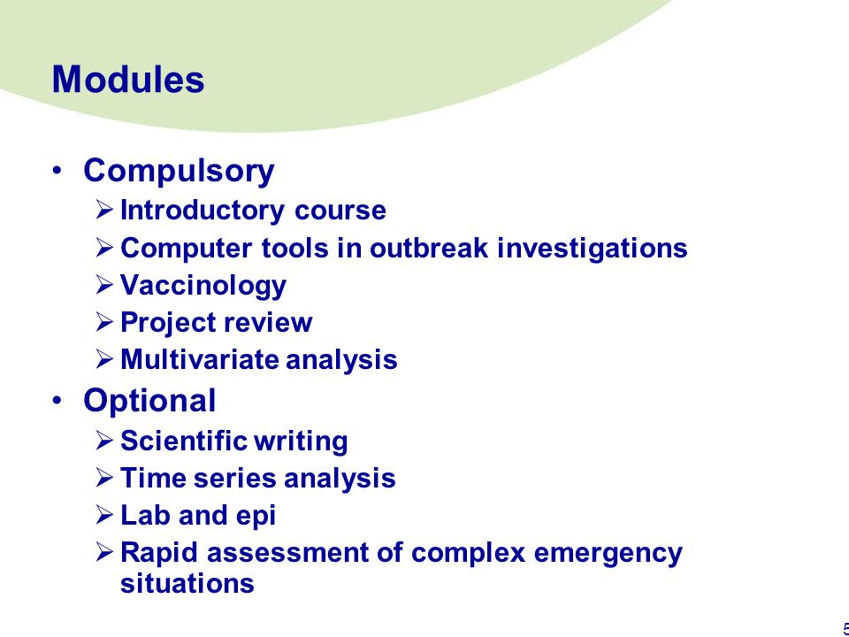 Modules Compulsory Optional Introductory course