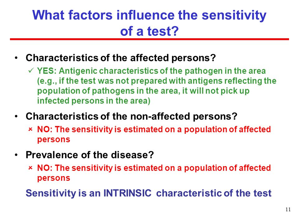 What factors influence the sensitivity of a test