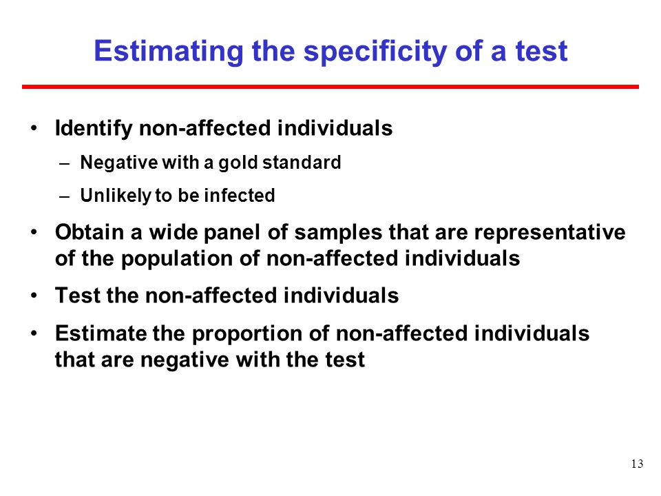 Estimating the specificity of a test