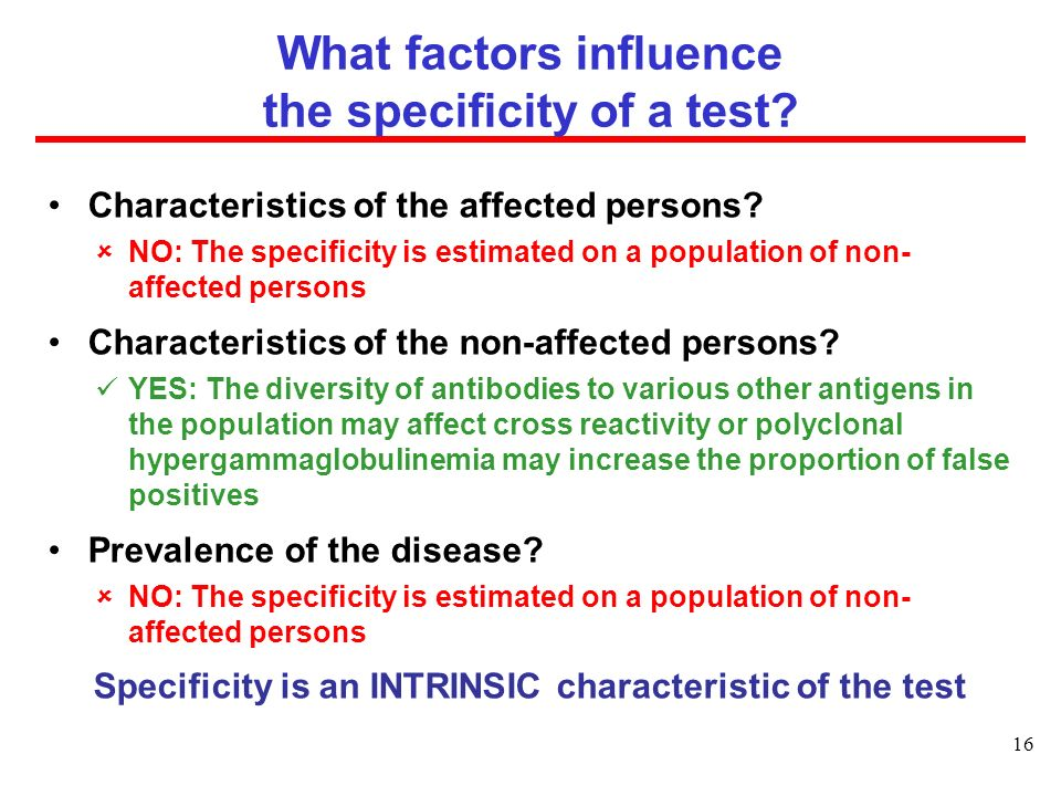What factors influence the specificity of a test