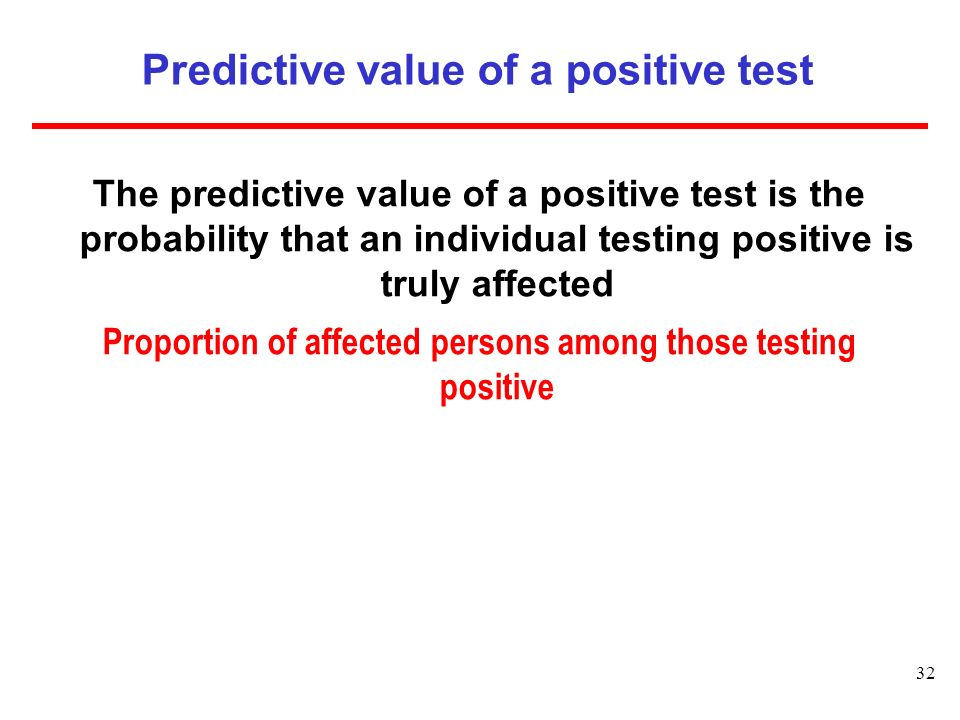 Predictive value of a positive test