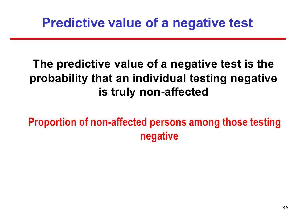 Predictive value of a negative test