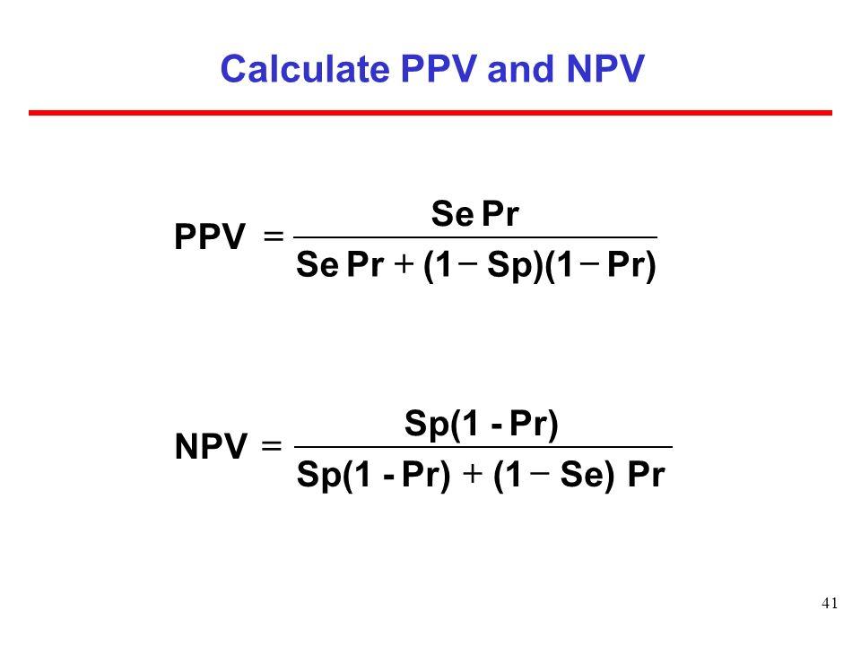 Calculate PPV and NPV Pr) Sp)(1 (1 Pr Se PPV - + = Pr Se) (1 Pr) -
