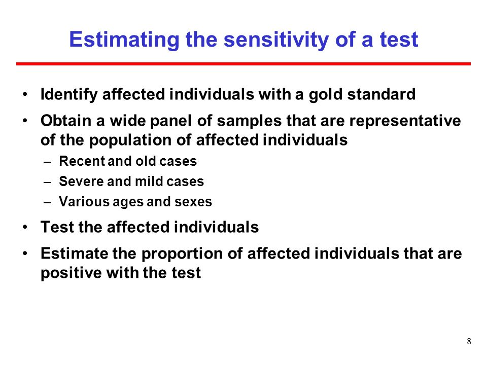 Estimating the sensitivity of a test
