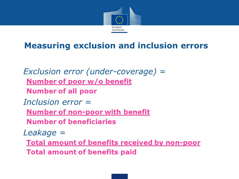 Measuring exclusion and inclusion errors